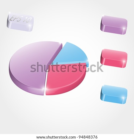 3D pie chart for your business presentation in elegant style - stock vector