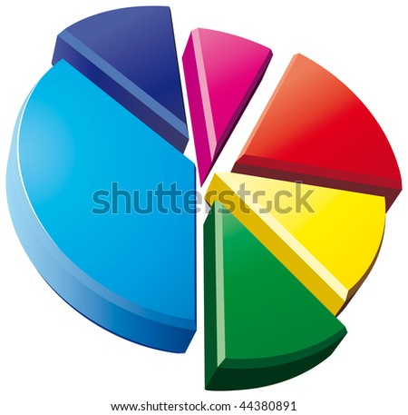 3D pie chart on white background - stock vector