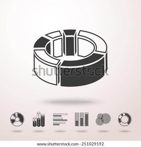3D pie chart with shadow, and set of infographic elements - pie charts, graphics, rates, diagrams etc. Vector - stock vector