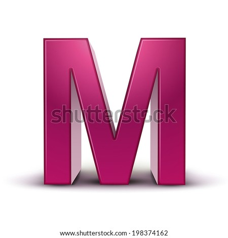 3d pink letter M isolated white background - stock vector