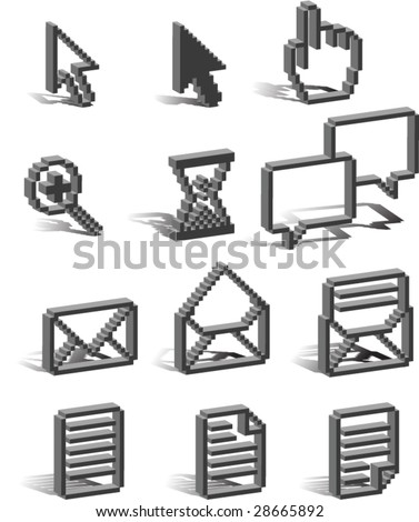 3D pixel Icons - shadows are on a separate layer for easy removal and editing. - stock vector