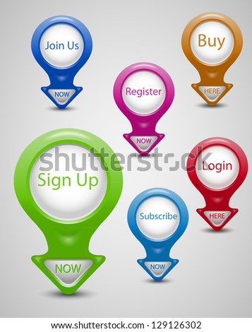 3D pointers set- Sign up, Join us, Buy now, Register, Login, Subscribe - stock vector
