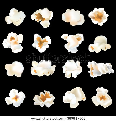 3d popcorn shrimps set. Isolated popcorn slices. Vector object. Tasty popcorn of various  interesting forms. - stock vector