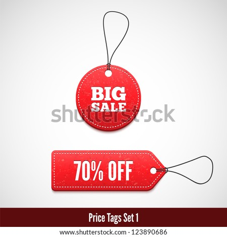 3D Price tags set one. - stock vector