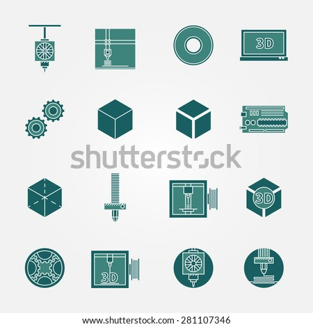 3D print icons set - vector collection of 3d printing symbols or signs - stock vector