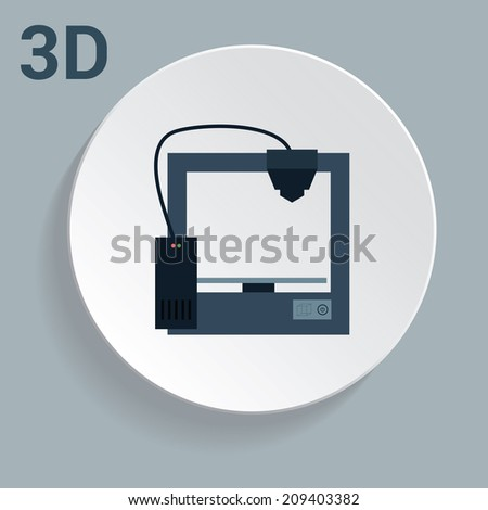 3d printer icon with simple design - stock vector
