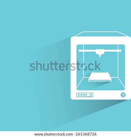 3D printer on blue background, flat and shadow theme - stock vector