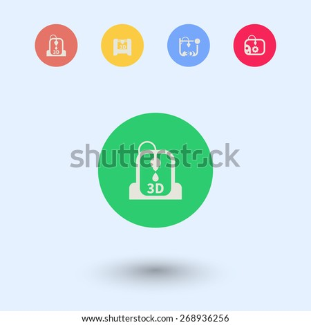 3d printer, printing, additive manufacturing, round flat icons, vector illustration, eps10, easy to edit - stock vector