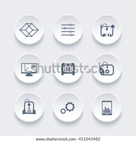 3d printer, printing icons set, modeling, designing, additive manufacturing, vector illustration - stock vector