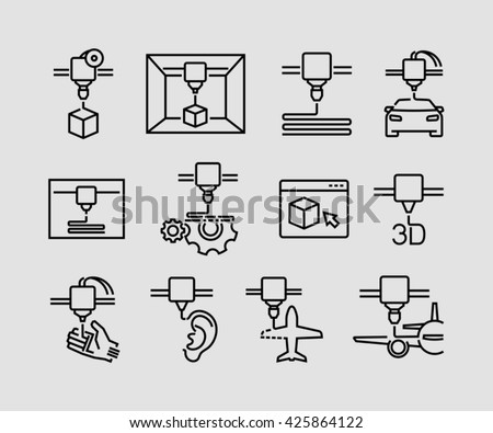 3D Printing Icons  - stock vector