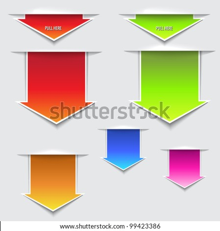 3D Pull Here Arrows - three dimensional paper slips in the shape of pull out arrows, in a variety of bright colors - stock vector