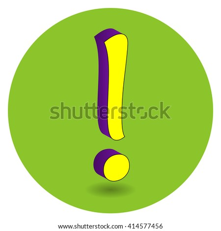 3D purple and yellow vector illustration of symbol exclamation mark on green circle background.