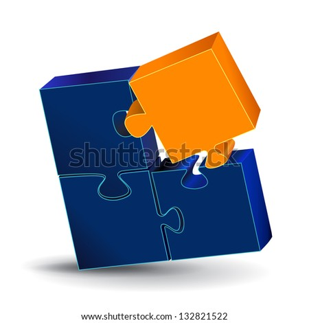3D Puzzle - Isolated On White Background - Vector Illustration, Graphic Design - Editable For Your Design. Puzzle Logo
