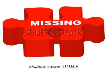 3d puzzle piece with the words missing on it - stock vector