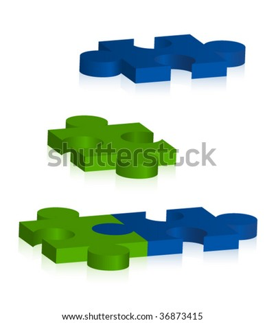 3d puzzle pieces vector - stock vector