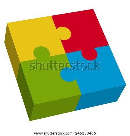 3D puzzle square - stock vector