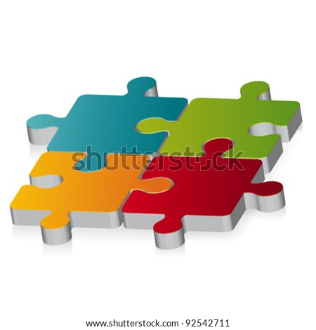 3D puzzle. Vector illustration - stock vector