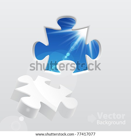 3d puzzle with sky and sunlight. Vector illustration. - stock vector