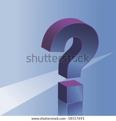3D question mark, vector background - stock vector