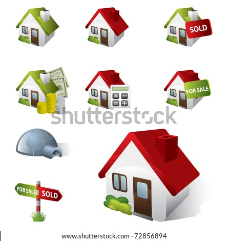 3D Real Estate Business Icon Set - stock vector