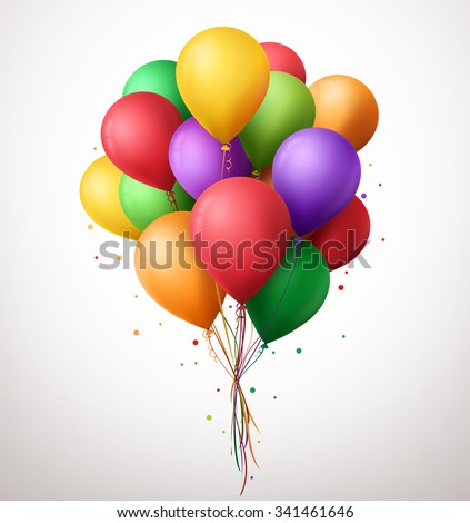 3d Realistic Colorful Bunch of Birthday Balloons Flying for Party and Celebrations With Space for Message Isolated in White Background. Vector Illustration  - stock vector