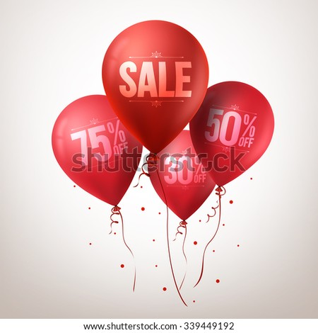 3d Realistic Colorful Red Sale Balloons Flying for Christmas Promotion Isolated in White Background. Vector Illustration