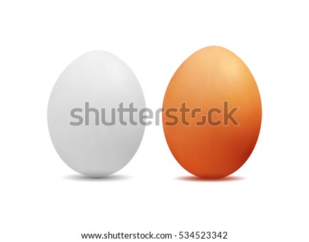 3D realistic image of yellow and white eggs