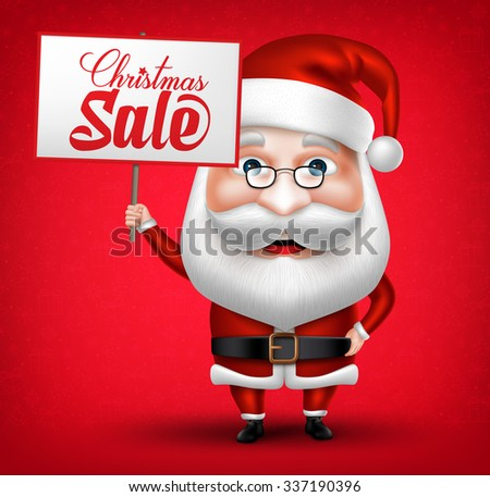 3D Realistic Santa Claus Cartoon Character Holding Christmas Sale Placard in Red Background. Vector Illustration  - stock vector