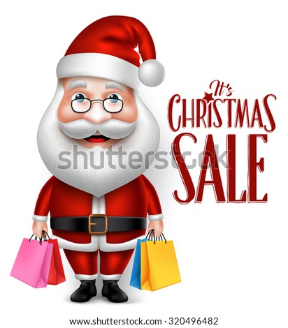 3D Realistic Santa Claus Cartoon Character Holding Shopping Bags Isolated in White Background. Vector Illustration  - stock vector