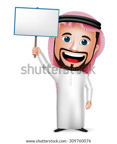 3D Realistic Saudi Arab Man Cartoon Character Holding Blank Placard Wearing Thobe Isolated in White Background. Vector Illustration.