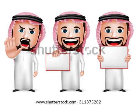 3D Realistic Saudi Arab Man Cartoon Character  Holding Blank White Board Wearing Thobe Isolated in White Background. Set of Vector Illustration.  - stock vector