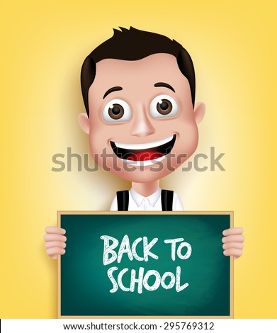 3D Realistic School Boy Student Happy Smiling Holding a Blackboard With Back to School Text Written. Vector Illustration - stock vector
