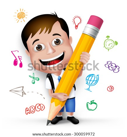3D Realistic Smart Kid School Boy Wearing Uniform and Backpack Writing Creative Ideas with Big Pencil Isolated in White Background. Vector Illustration - stock vector