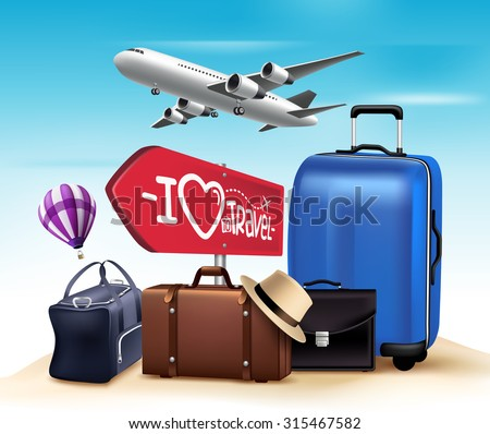 3D Realistic Travel and Tour Design with Set and Collections of Bags and Airplane. Vector Illustration  - stock vector