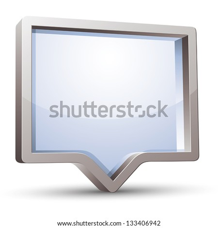 3d rectangular rounded empty speech bubble with blank glass inside, vector background. - stock vector