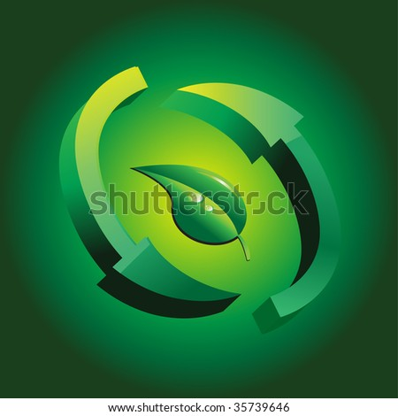 3D recycle sign with leaf illustration - stock vector