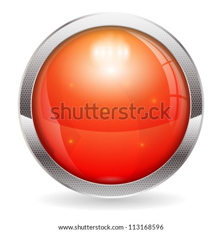 3D Red Alarm Button, isolated on white, vector illustration - stock vector