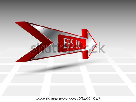 3D Red Arrow in a metal frame on a gray background - stock vector