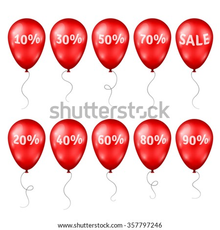 3d Red Balloons with Percents and Sale Text. Vector illustration. Design elements template for holiday sale event. Red Balloons Set Isolated on white background. - stock vector