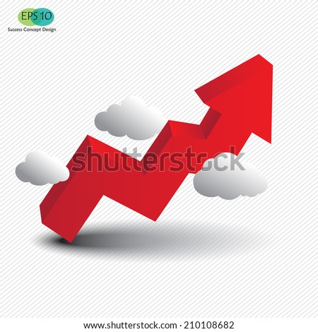 3d red graph rising upward over clouds, growth, success, profit, vector illustration - stock vector