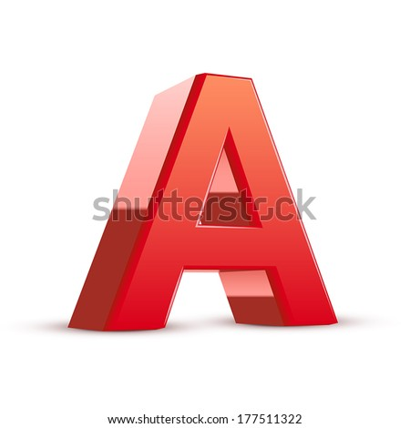 3d red letter A isolated white background - stock vector