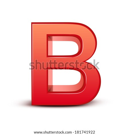3d red letter B isolated white background - stock vector