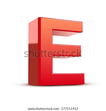 3d red letter E isolated white background - stock vector