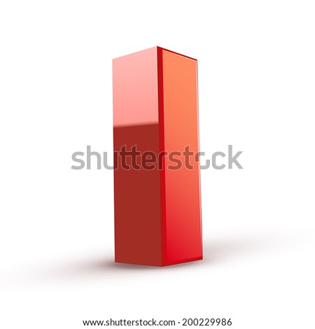3d red letter I isolated white background - stock vector