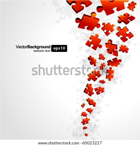 3d red puzzle piece vector background - stock vector