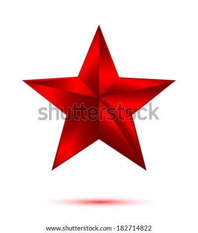 3D red star on white background - stock vector