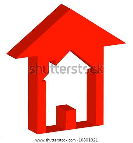3d - red up arrow with house inside - rising prices in housing market - vector