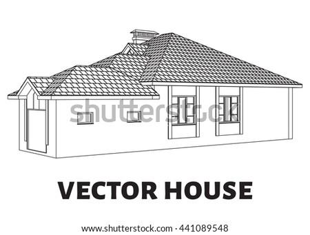 3d render building vector vector house stock vector