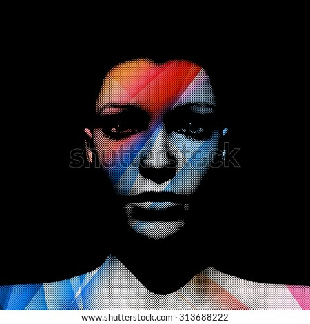 3D render of woman's face with transparent blue and red strips and halftone pattern, editable - stock vector