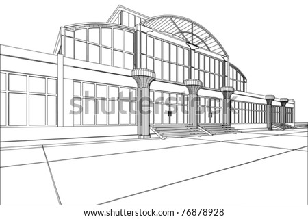 3D rendering wireframe of office building, white background. Concept - modern architecture, designing. - stock vector